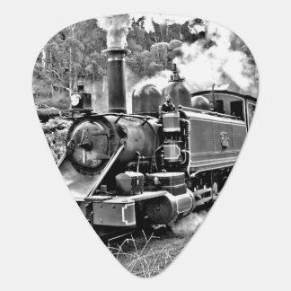 Black and White Vintage Steam Train Engine Guitar Pick