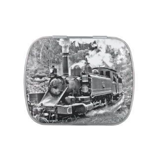 Black and White Vintage Steam Train Engine Jelly Belly Tins