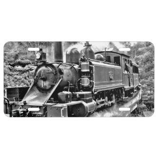 Black and White Vintage Steam Train Engine License Plate