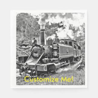 Black and White Vintage Steam Train Engine Napkin