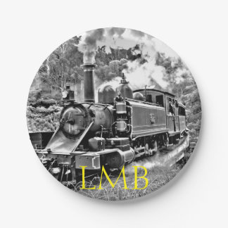 Black and White Vintage Steam Train Engine Paper Plate