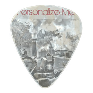 Black and White Vintage Steam Train Engine Pearl Celluloid Guitar Pick