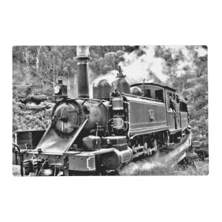 Black and White Vintage Steam Train Engine Placemat