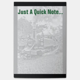 Black and White Vintage Steam Train Engine Post-it® Notes