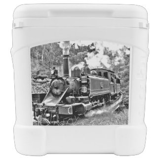 Black and White Vintage Steam Train Engine Rolling Cooler