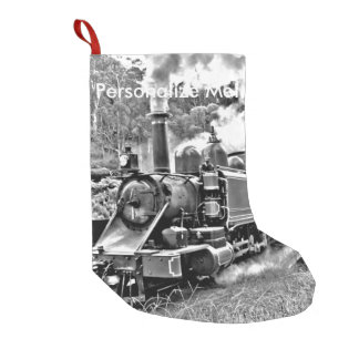 Black and White Vintage Steam Train Engine Small Christmas Stocking