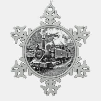 Black and White Vintage Steam Train Engine Snowflake Pewter Christmas Ornament