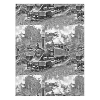 Black and White Vintage Steam Train Engine Tablecloth