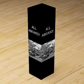 Black and White Vintage Steam Train Engine Wine Gift Box