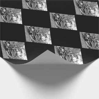 Black and White Vintage Steam Train Engine Wrapping Paper