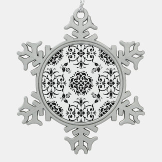 Black and White Vintage Style Damask Pattern Ornaments