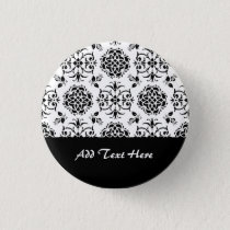 Black and White Vintage Style Floral Damask Pinback Button