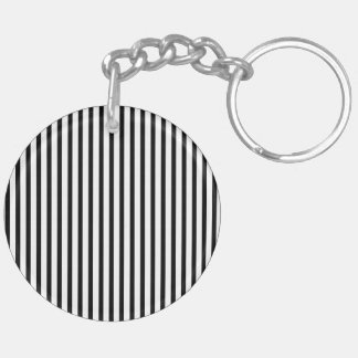 Black and White Vintage Vertical Stripes Acrylic Key Chain