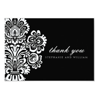 Black and White Vintage Wedding Thank You Card