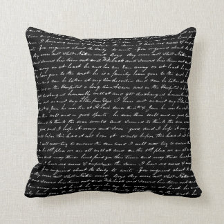 Black and White Vintage Writing Abstract Art Pillow