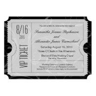 Black and White VIP Wedding Ticket Invitations