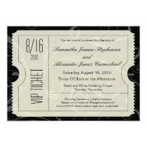 "Black and White VIP Wedding Ticket Invitations 5"" X 7"" Invitation Card"