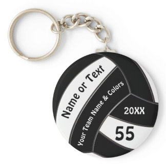 Black and White Volleyball Keychains Personalized