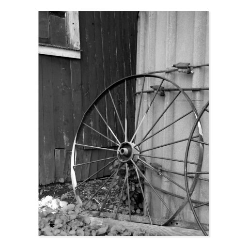 Black and White Wagon Wheel and Silo Post Card