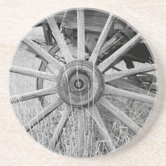 Black and White Wagon Wheel Coaster