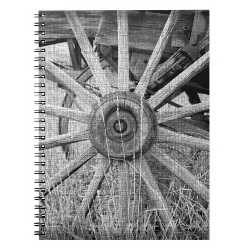 Black and White Wagon Wheel Spiral Notebook