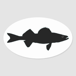 Black and White Walleye Logo Oval Sticker