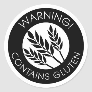 Black and White Warning Contains Gluten Symbol Classic Round Sticker