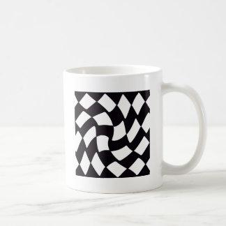 Black and White Warped Checkerboard Coffee Mug