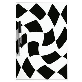 Black and White Warped Checkerboard Dry Erase Board