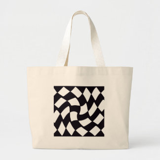 Black and White Warped Checkerboard Large Tote Bag