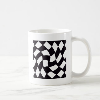 Black and White Warped Checkerboard Coffee Mugs