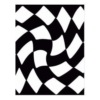 Black and White Warped Checkerboard Postcard