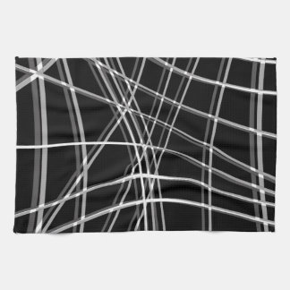 Black and white warped lines hand towels
