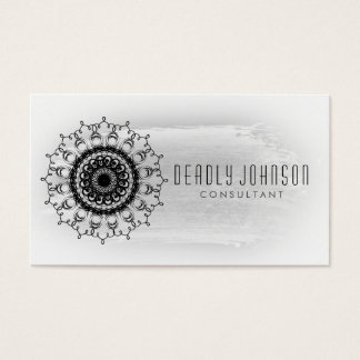 Black and White Watercolor Damask Plain Simple Business Card