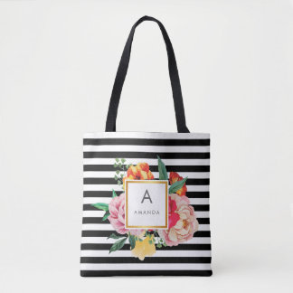 Black and white Watercolor Peony Flowers Monogram Tote Bag