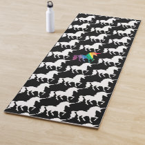 Black and White Watercolor Rainbow Unicorn Pattern Yoga Mat