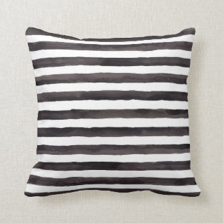 Black and White watercolor stripe pillow