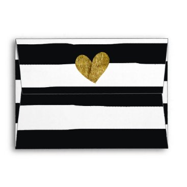 Valentines Themed Black and White Watercolor Stripes Gold Heart Envelope