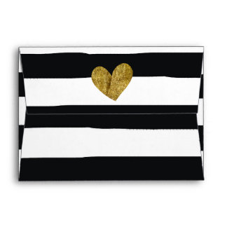 Black and White Watercolor Stripes Gold Heart Envelopes