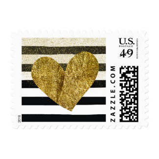 Black and White Watercolor Stripes Gold Heart Postage
