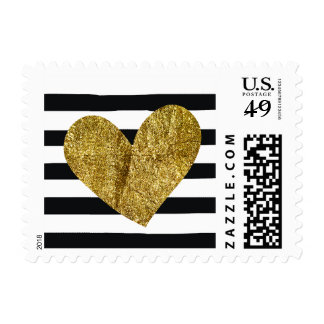 Black and White Watercolor Stripes Gold Heart Stamp
