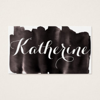 Black and White Watercolor Wash Business Card