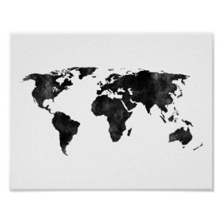 Black and white Watercolor World Map Poster