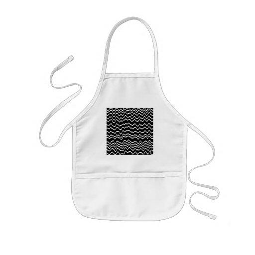 Black and White Wave Pattern. Apron