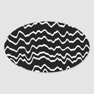 Black and White Wave Pattern. Oval Sticker