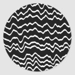 Black and White Wave Pattern. Round Stickers