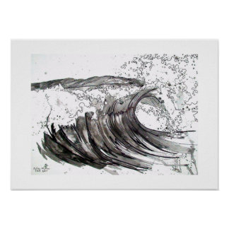black and white wave poster