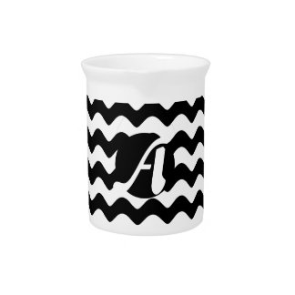 Black and White Waves Monogram Drink Pitchers