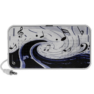 Black and White Waves of Music Background Travel Speaker