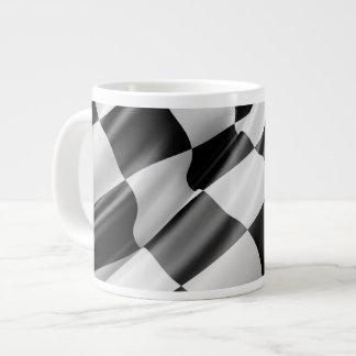 Black and White Waving Racing Flag Giant Coffee Mug
